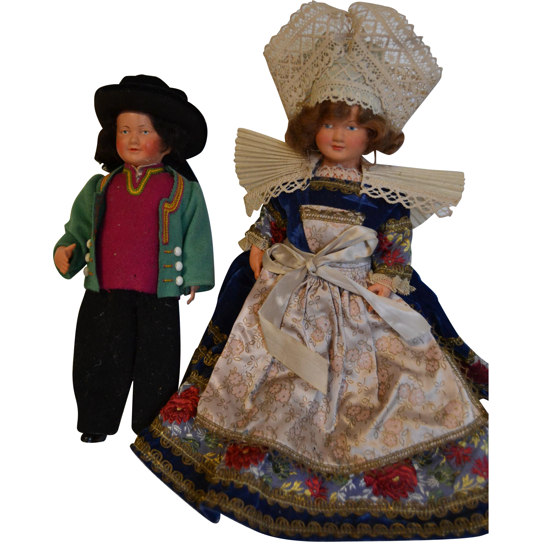Couple of French Brittany souvenir dolls