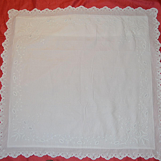 French 1880 pillow case with rich embroidery