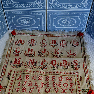 2 French cross sticht sampler from the middle of 19th century