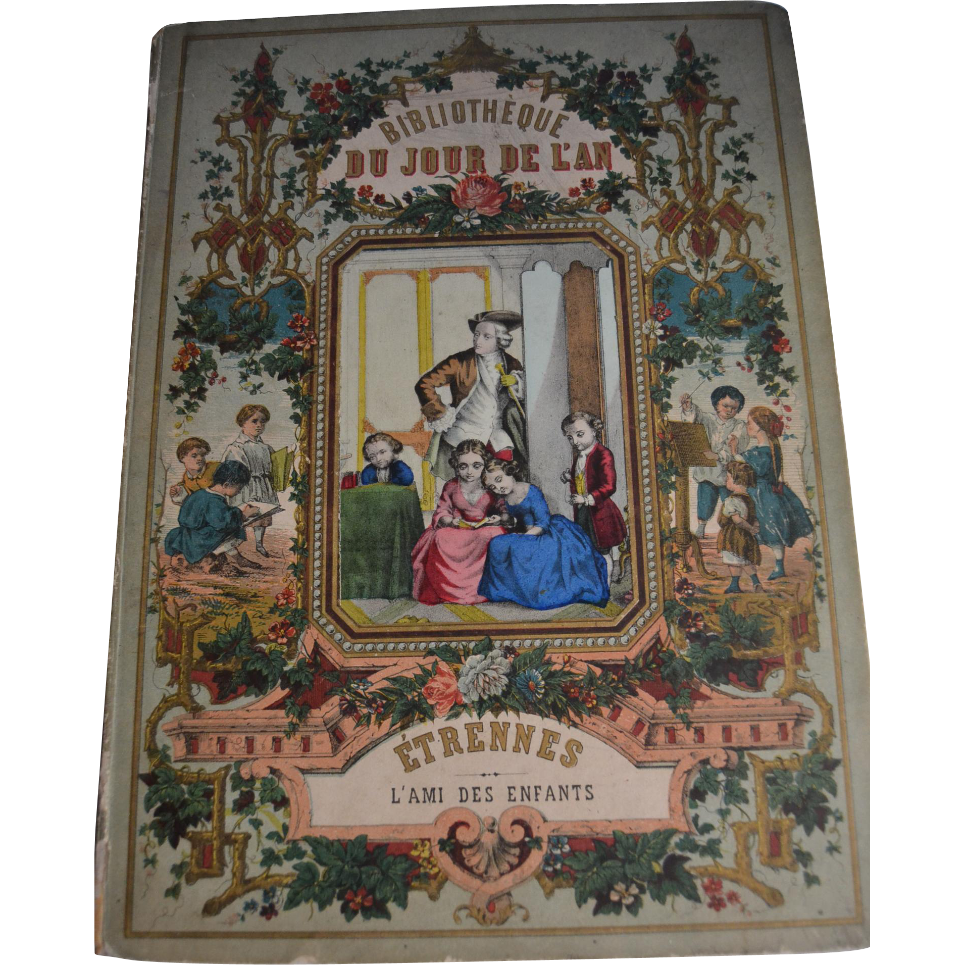 Rare antique 1860 child book with a wonderful colored cover