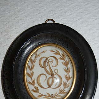 French 19 century souvenir, hair art