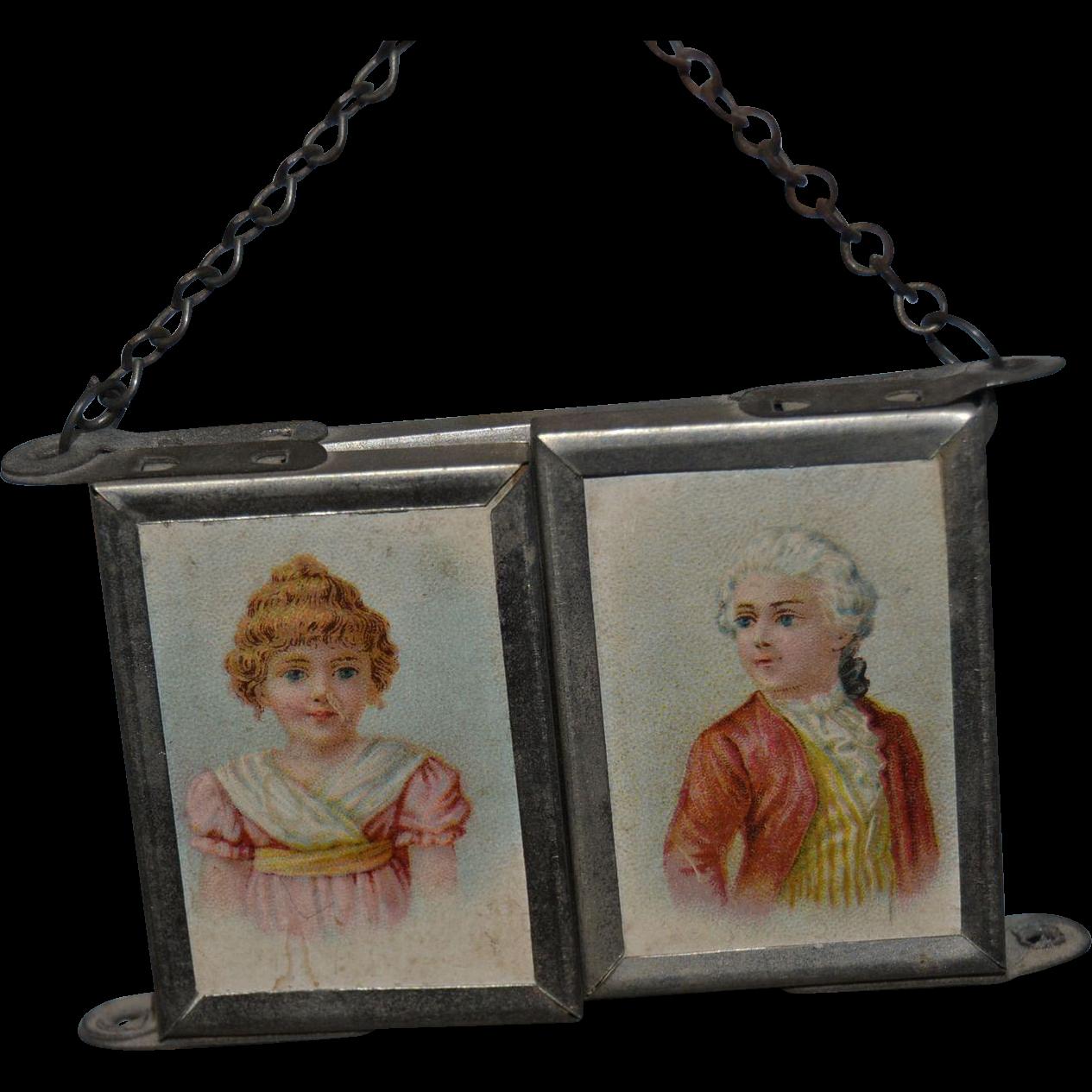 Small portable triptych mirror circa 1880/1900