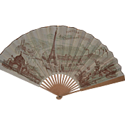 Rare   fan French souvenir from Eiffel towers 1889