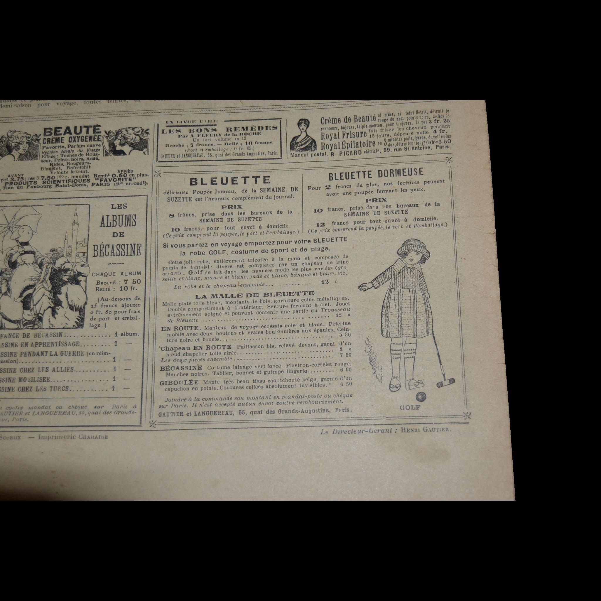 La semaine de suzette 3 pieces 1920/1921