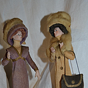 Rare 2 elegant poiret style figure all in bisque