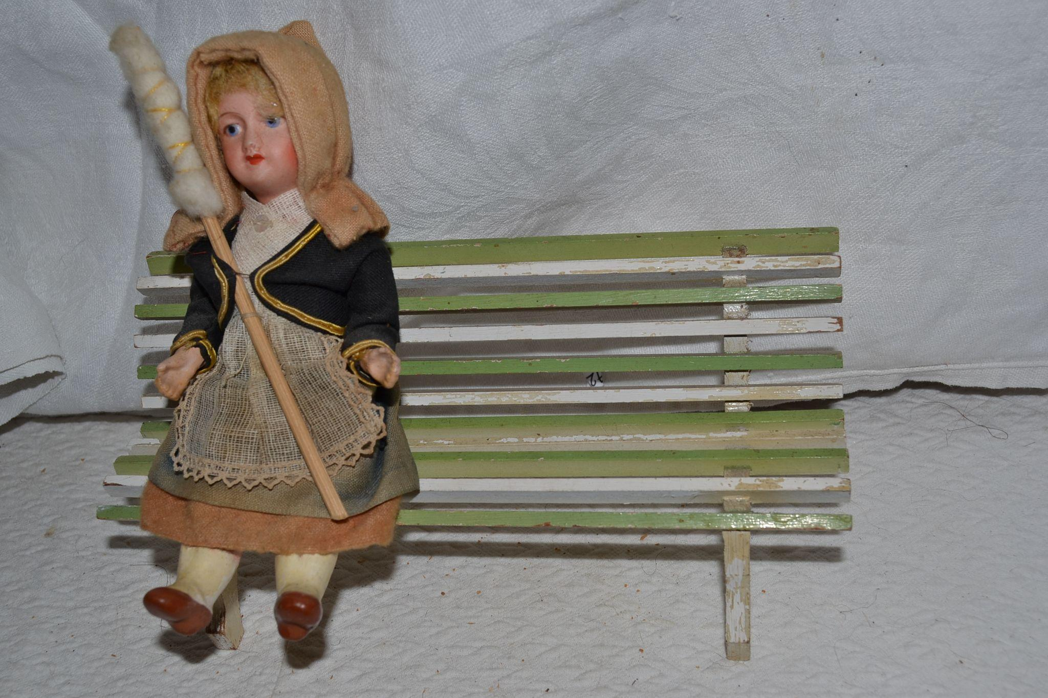 French antique and original garden bench for doll