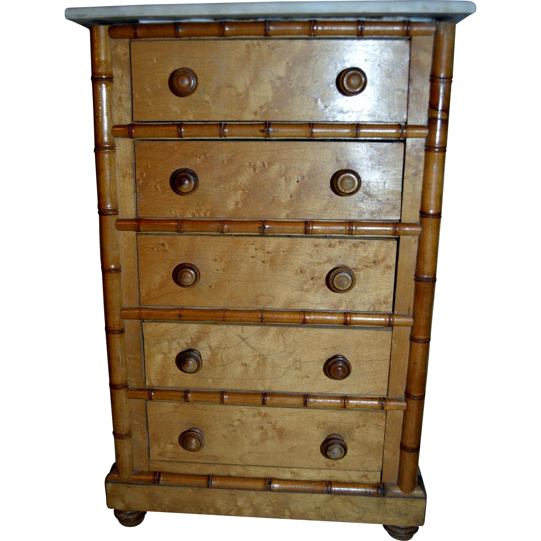 Rare model of chest of five drawers French faux bamboo