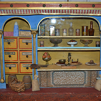 Rare French grocery ,delicatessen with food and little metal French metal box