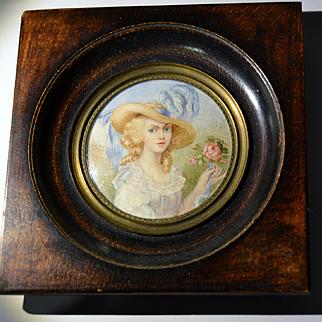 """French painting miniature 1900 """"la dame à la rose"""""""