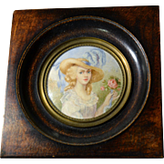 "French painting miniature 1900 ""la dame à la rose"""