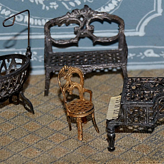 Rare size of tiny French soft metal furniture from Paris 1890