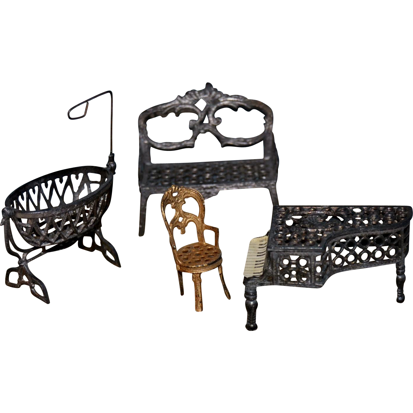 rare size of tiny french soft metal furniture from paris