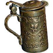 1900 Hand crafted brass beer mug for doll 's house