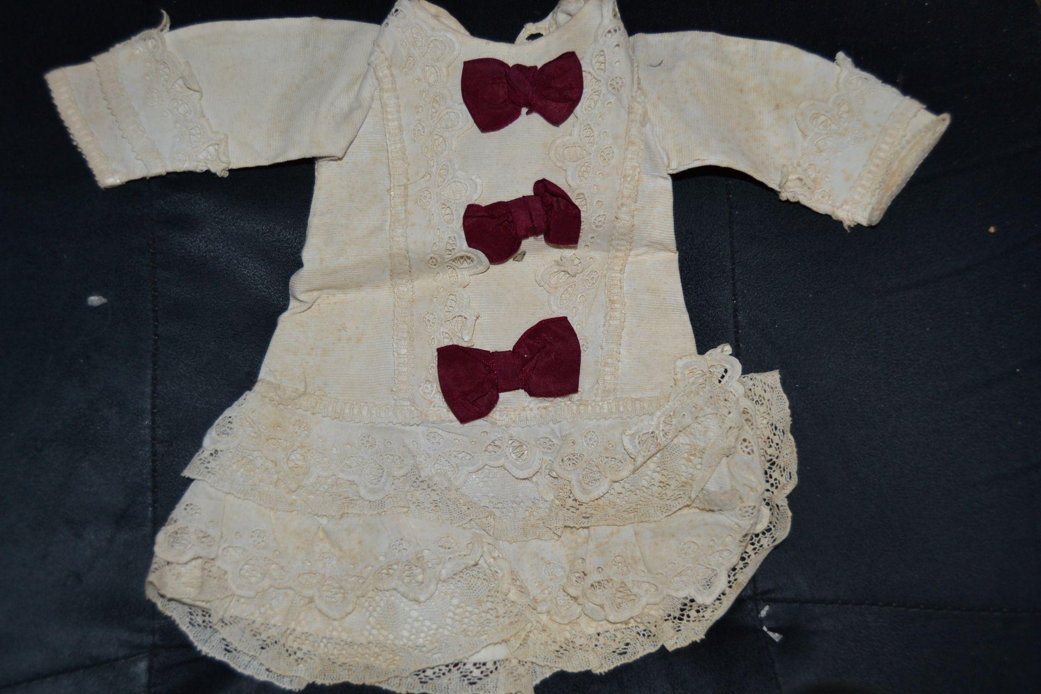 Outstanding antique white cotton French bebe dress