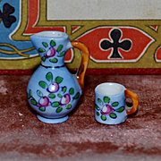 Gabriel Fourmaintraux  little pot with  the mug 1900/1910 perfect for doll's houses