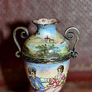 Antique rare viennese miniature Enamel vase for you doll's house