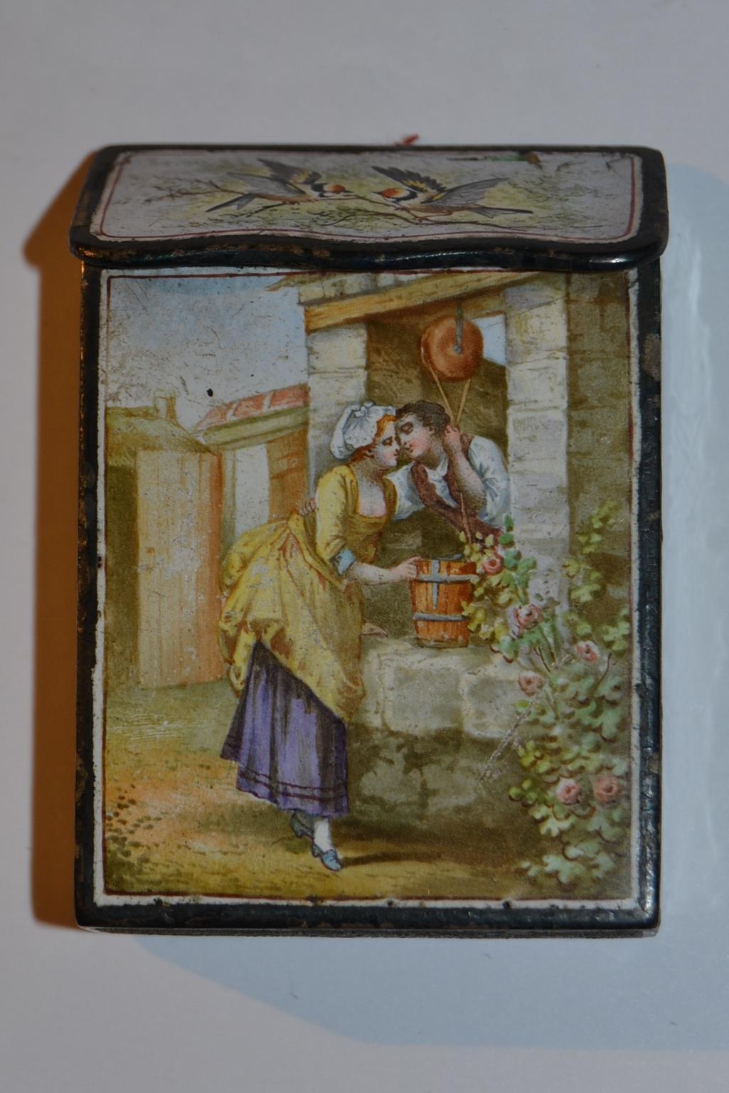 Rare and gorgeous  enameled match box pyrogenic