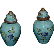 Nice pair of french chinese type geenncover vases for doll 's house
