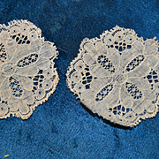 2 French antique lace doilies for doll's house