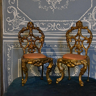 Lovely pair of bronze chair for doll's house