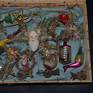 Rare original box  of antique victorian tinsel and blow glass ornaments from France