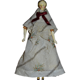 Rare early 1820 wooden Grodnertal doll  for your doll's house