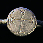 Byzantine silver seal ring w. cruciform monogram!