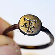 Byzantine silver seal ring w. monogram, c.6th. cent.AD