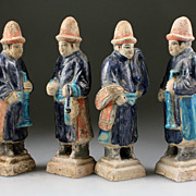 Set of 4 Chinese Ming Dynasty Pottery tomb figures!