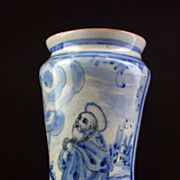 Rare dated Italian Alberello faiance ceramic vase 1730!