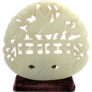 Nice Chinese carved openwork white jade plaque