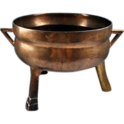 Large Gothic renaissance European bronze tripod cauldron!
