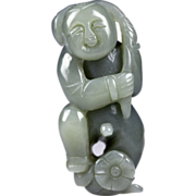 Exceptional Chinese celadon jade figure of a boy!