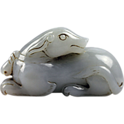 High quality Chinese translucent white jade dog!
