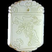 Superb Chinese celadon jade plaque pendant!