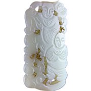 Choice openwork chinese celadon jade plaque