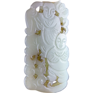 Choice openwork chinese celadon jade plaque