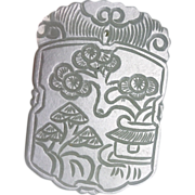 Excellent Chinese celadon jade plaque pendant!