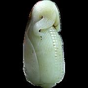 Huge Chinese jade carving pendant of Corn cob w. Scorpio
