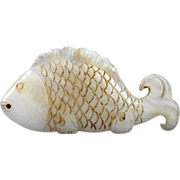 Choice old Chinese White jade carving of a fish - gem!