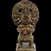 Terrific antique Sino-Tibetan gilt Buddha bronze deity, Qing Dynasty