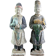 Matching pair of superb large China Ming pottery figures!