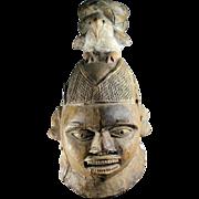 Authentic antique Nigerian Yoruba wooden mask, 18th.-19th. c.