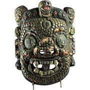 Rare Early Tibetan wood and bronze mask of mahakala
