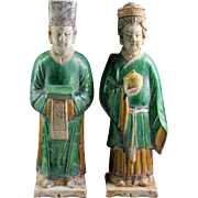 Male & female couple of large Chinese tomb pottery attendants, Ming Dynasty!
