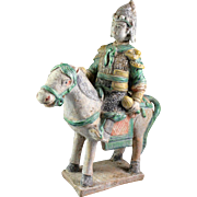 Chinese green glazed Ming tomb pottery horseman officer figure!