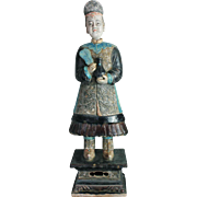 Important Ming Dynasty tomb pottery female attendant, largest known type!