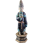 Chinese Ming pottery figure, 40 cm. with Ming Dynasty official hat