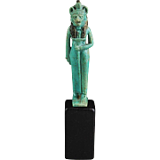 Museum Quality Egyptian faiance figure of Bastet / Sekhmet