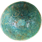 Rare carved Islamic greenish-blue pottery bowl, Seljuqs
